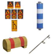 Roll-up -merkit, havainnepylväs, betoniporsas ja iskujalka