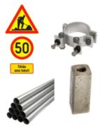Liikennemerkit, alumiinikiinnike, liikennemerkkiputki ja betoniperusta