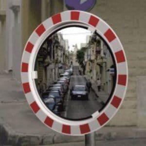 Pyöreä liikennepeili pun/valk kehyksellä