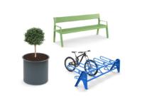 Puistopenkki, istutusastia ja pyöräteline