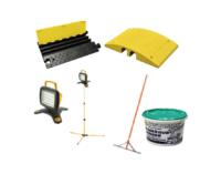Kaapelisuoja, työmaavalo, asfalttikola ja asfaltin paikkausmassa