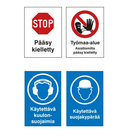 Varoituskilvet työmaalle