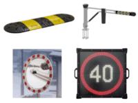 Hidastetöyssyt, ajopuomi, liikennepeili ja nopeusrajoitusnäyttö